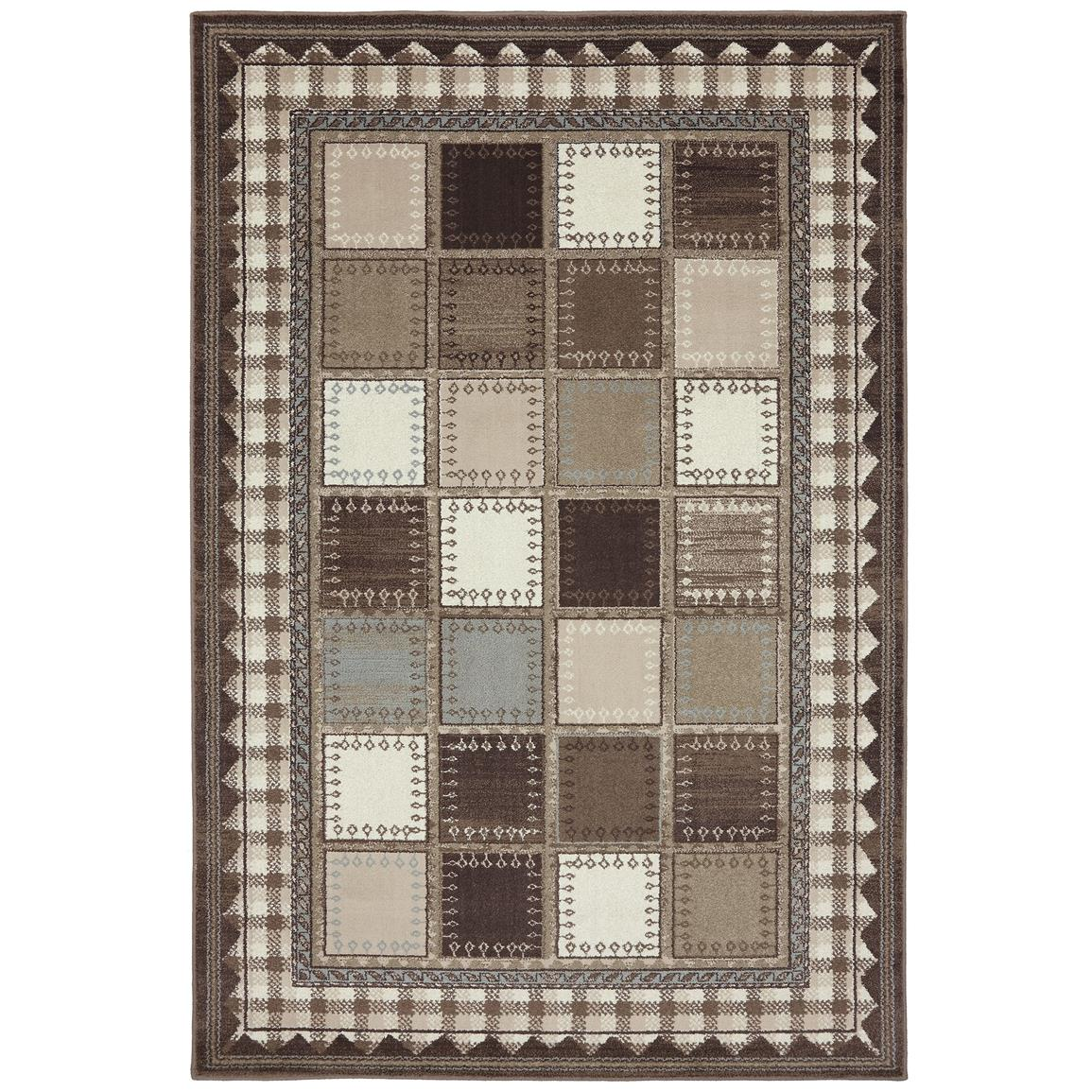 8 foot x 11 foot Woolrich Brown Box Plaid Rug by Mohawk Home