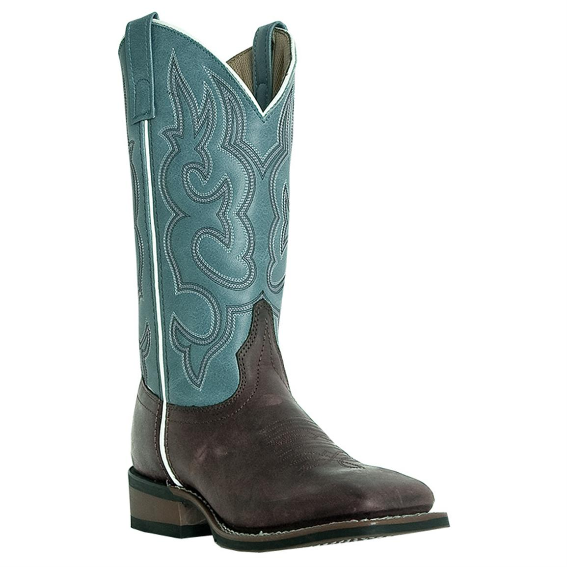 Women's Laredo 11 inch Mesquite Western Boots, Light Blue / Brown