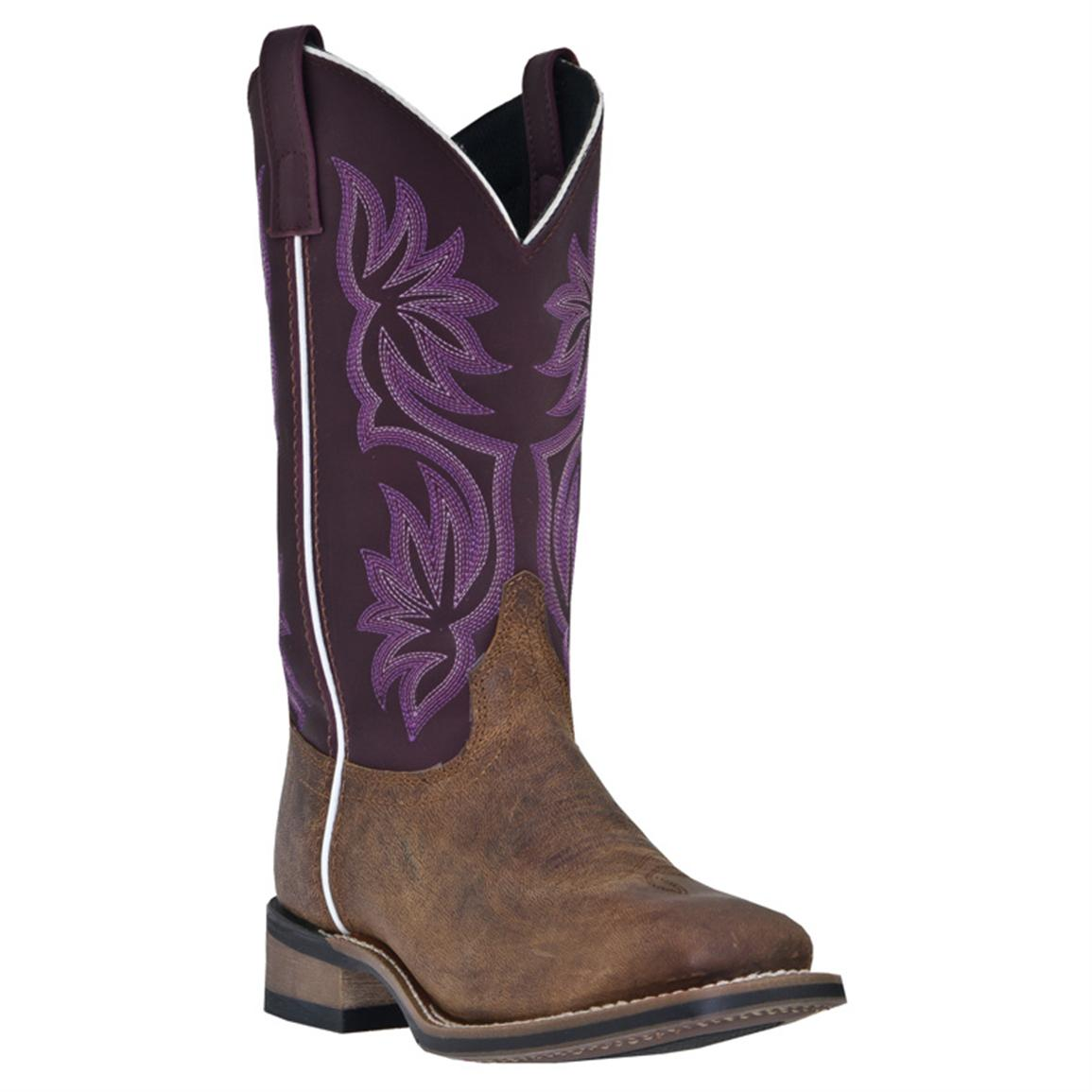 Women's Laredo 11 inch Mesquite Western Boots, Purple / Brown