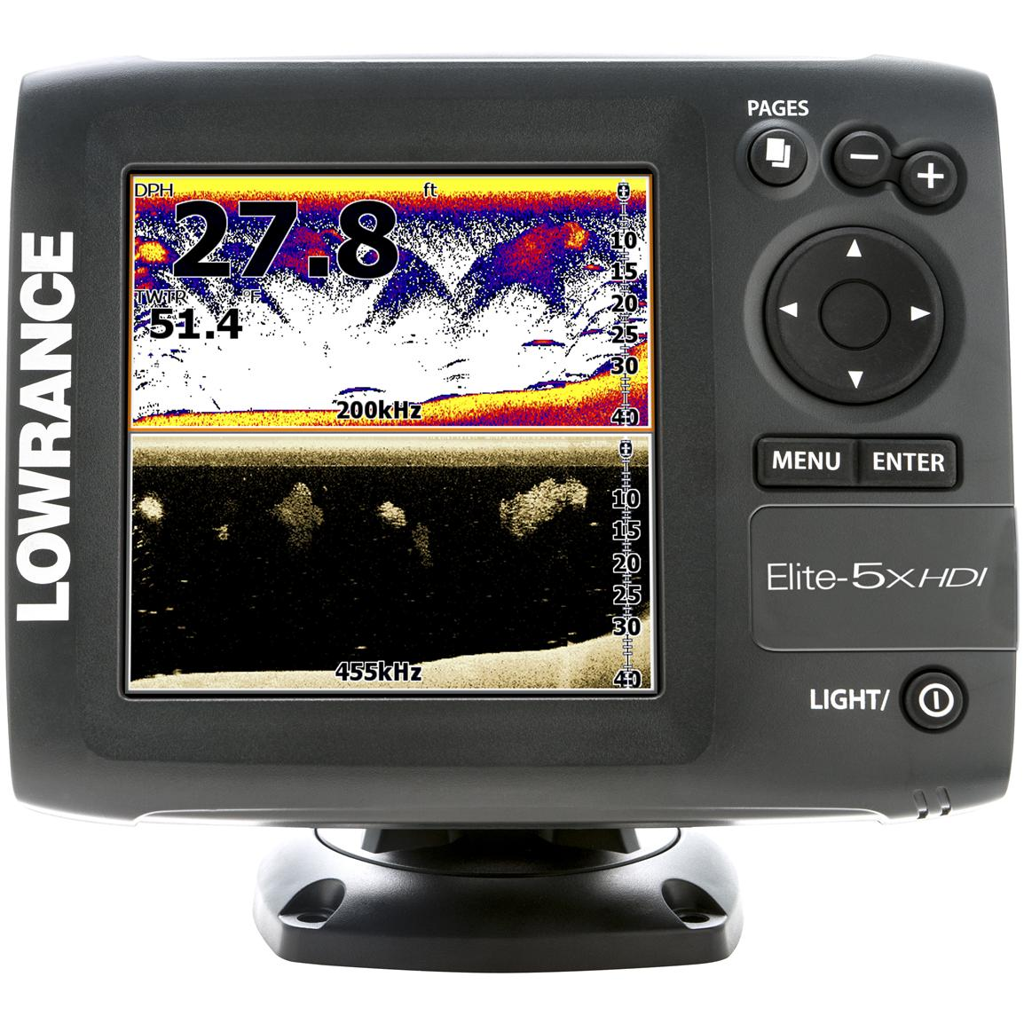 Lowrance® Elite-5x HDI Fishfinder with 50/200kHz and 455/800kHz Transducers