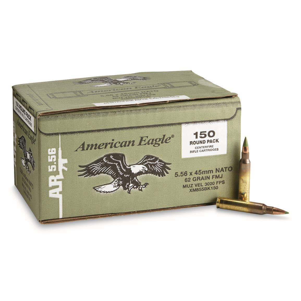 Federal American Eagle Green Tip, .223 (5.56x45mm), FMJ, 62 Grain, 150 Rounds