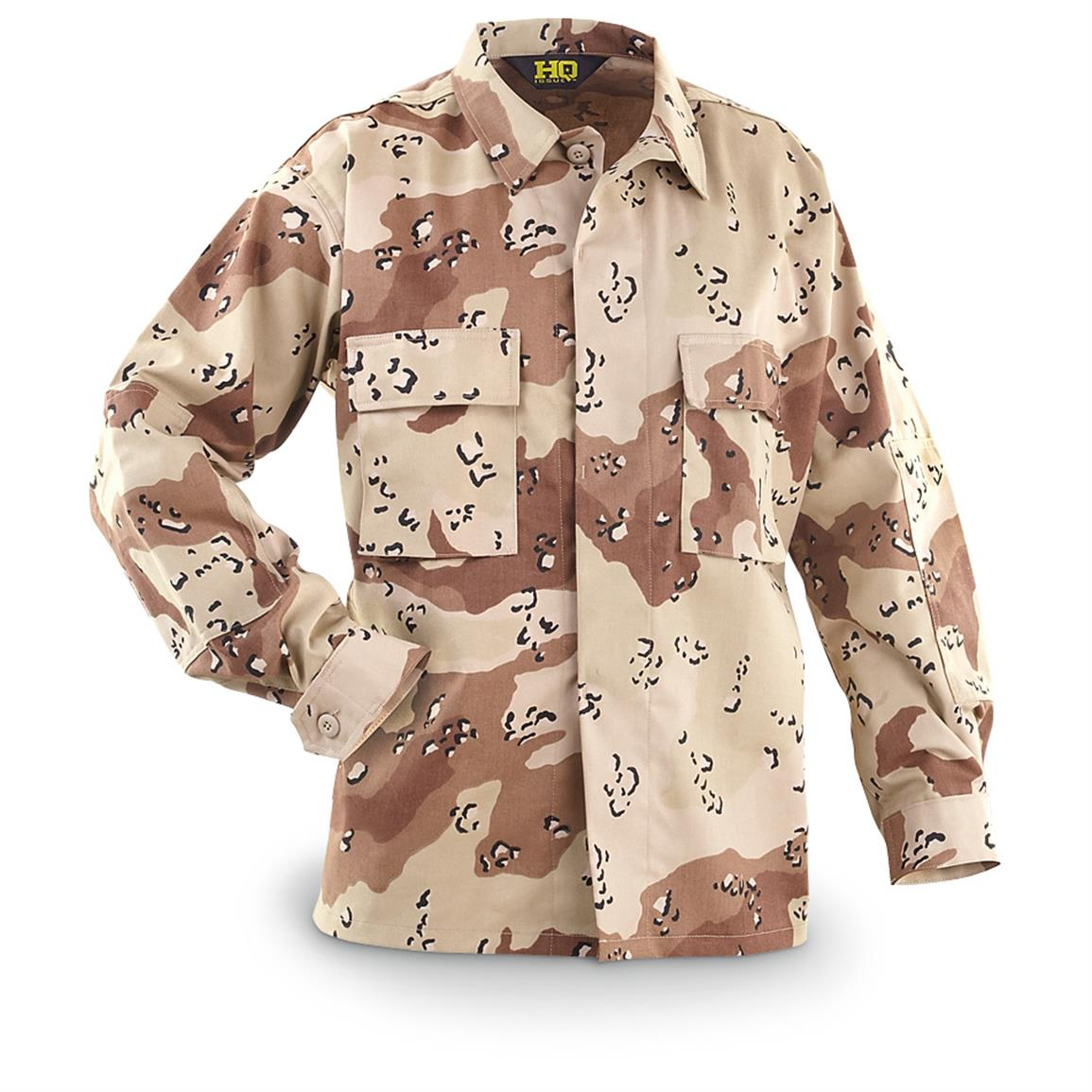 HQ ISSUE Military-style Desert Cotton / Polyester BDU Shirt, 6-color Desert Camo