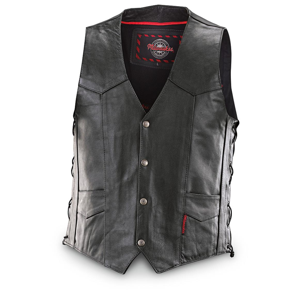 Milwaukee Motorcycle® Side-lace Vest with Conceal and Carry Pocket, Black