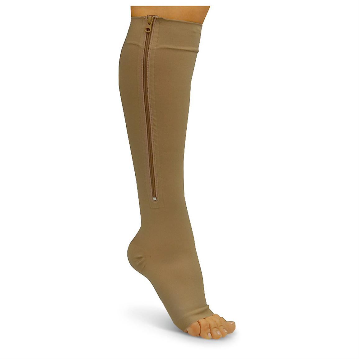 Zipper Compression Socks, Beige