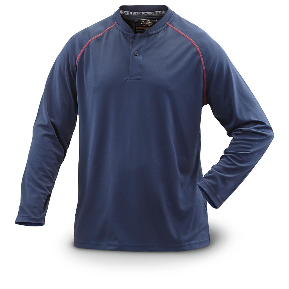 Guide Gear Men's Performance Long-Sleeve Henley Shirt, Navy