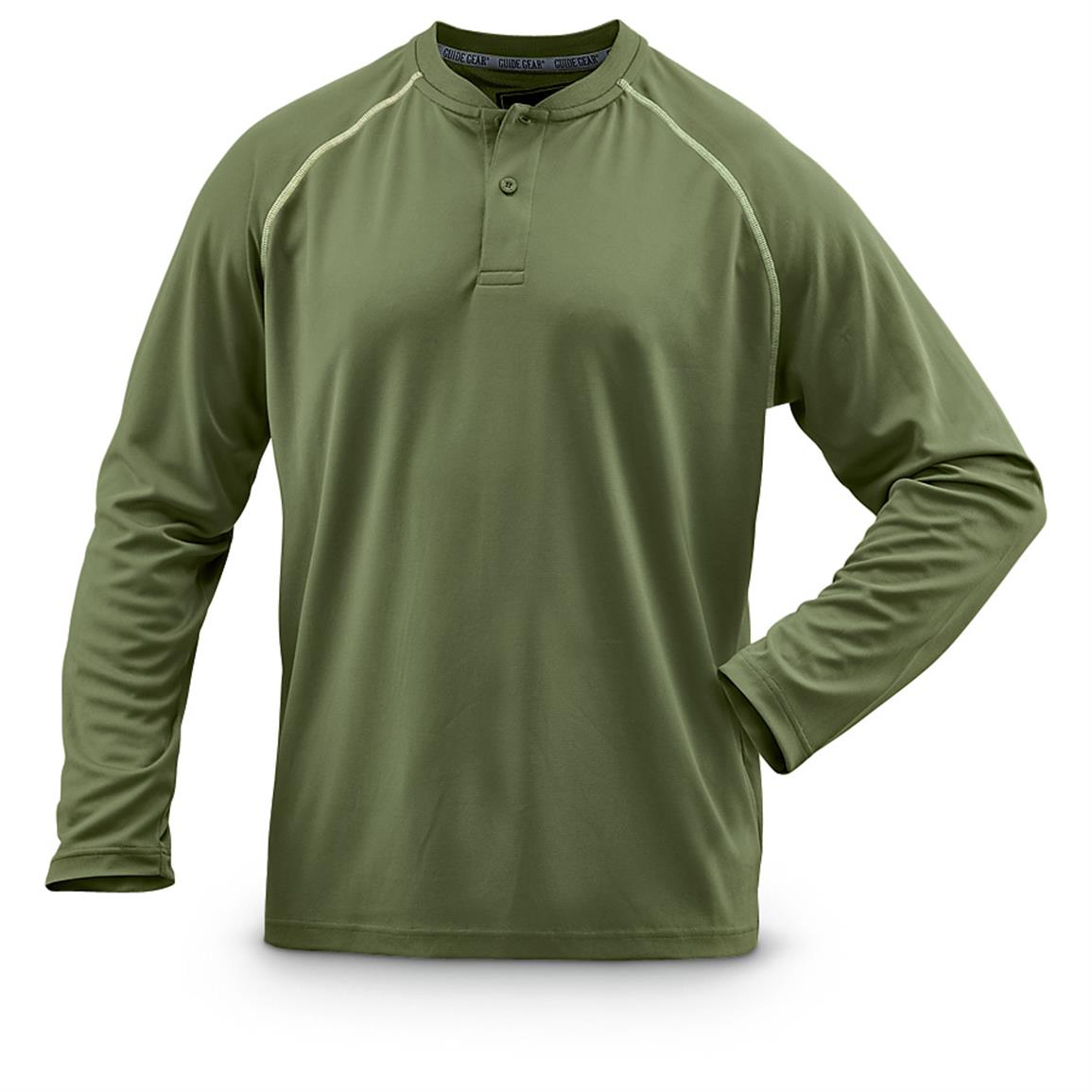 Guide Gear Men's Performance Long-Sleeve Henley Shirt, Green