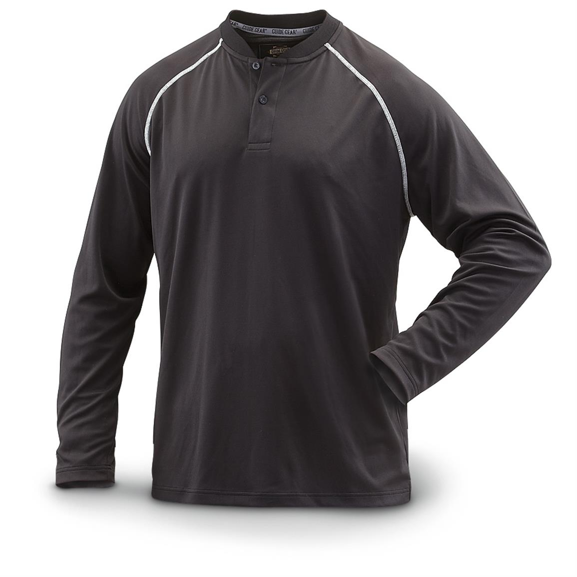 Guide Gear Men's Performance Long-Sleeve Henley Shirt, Black
