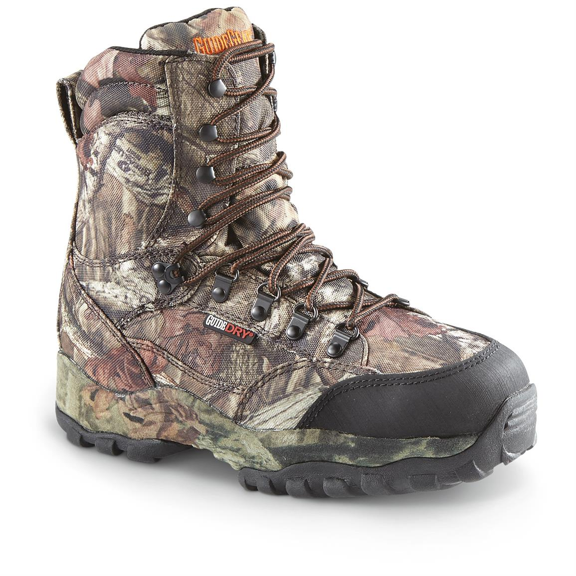 "Guide Gear Men's Guidelight II 8"" Insulated Waterproof Hunting Boots, Mossy Oak Infinity"