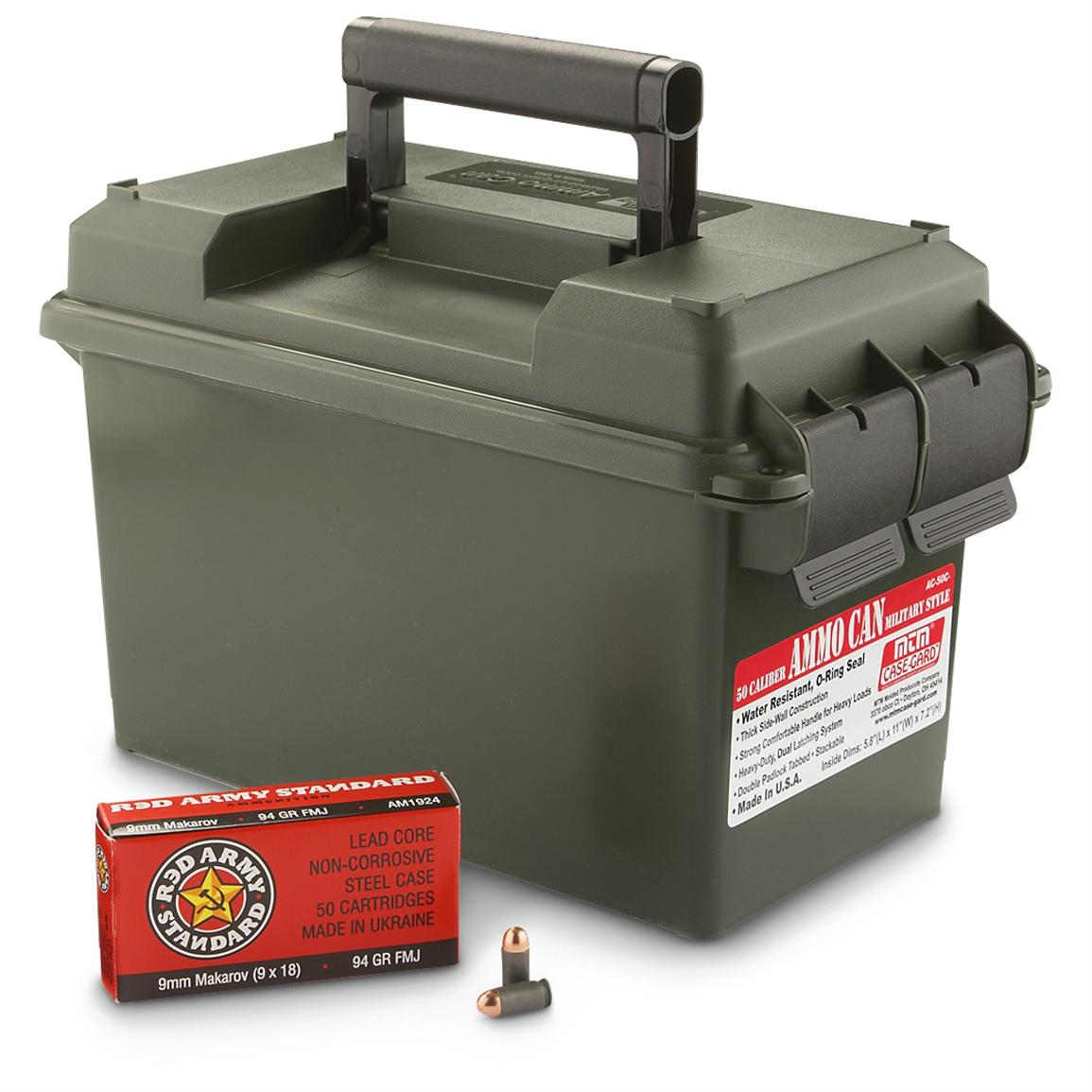 300 rds. 9mm MAK 94 Grain FMJ Ammo with Can