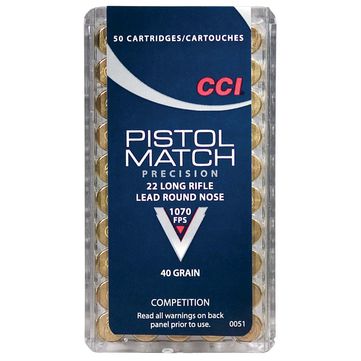 CCI Pistol Match, .22LR, LRN, 40 Grain, 50 Rounds