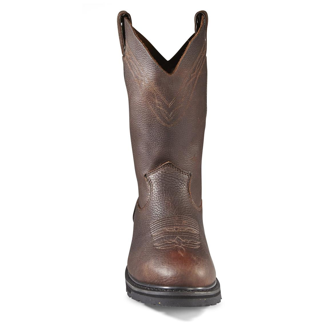 Oil-tanned, tumbled full grain leather uppers are rugged for all-day, every day working conditions... yet polish up nice for a dress boot in a pinch!