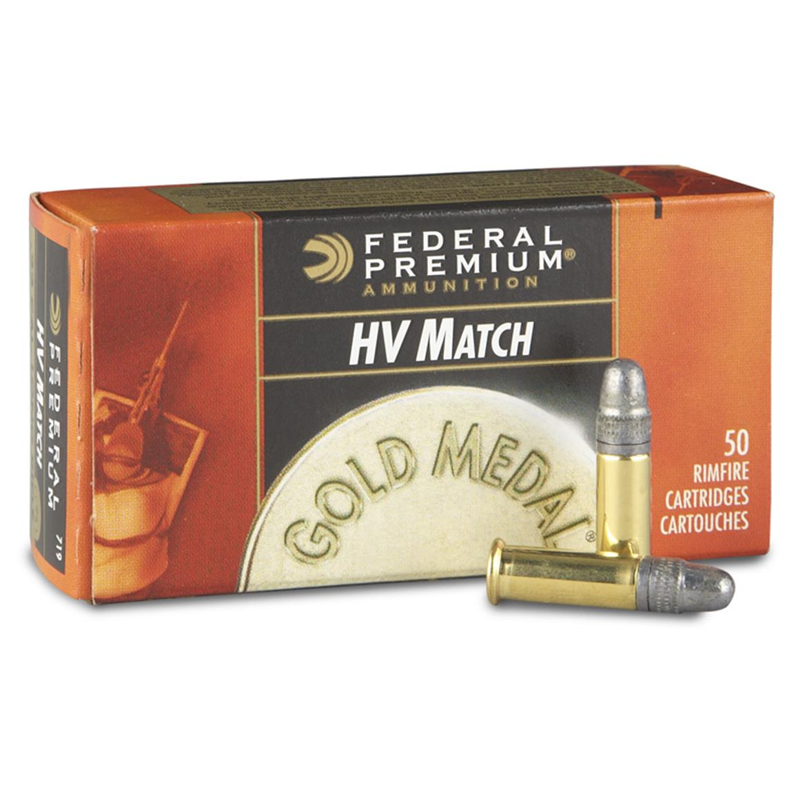 Federal Gold Medal .22LR High-Velocity Match 40 Grain Solid Ammo, 50 rounds