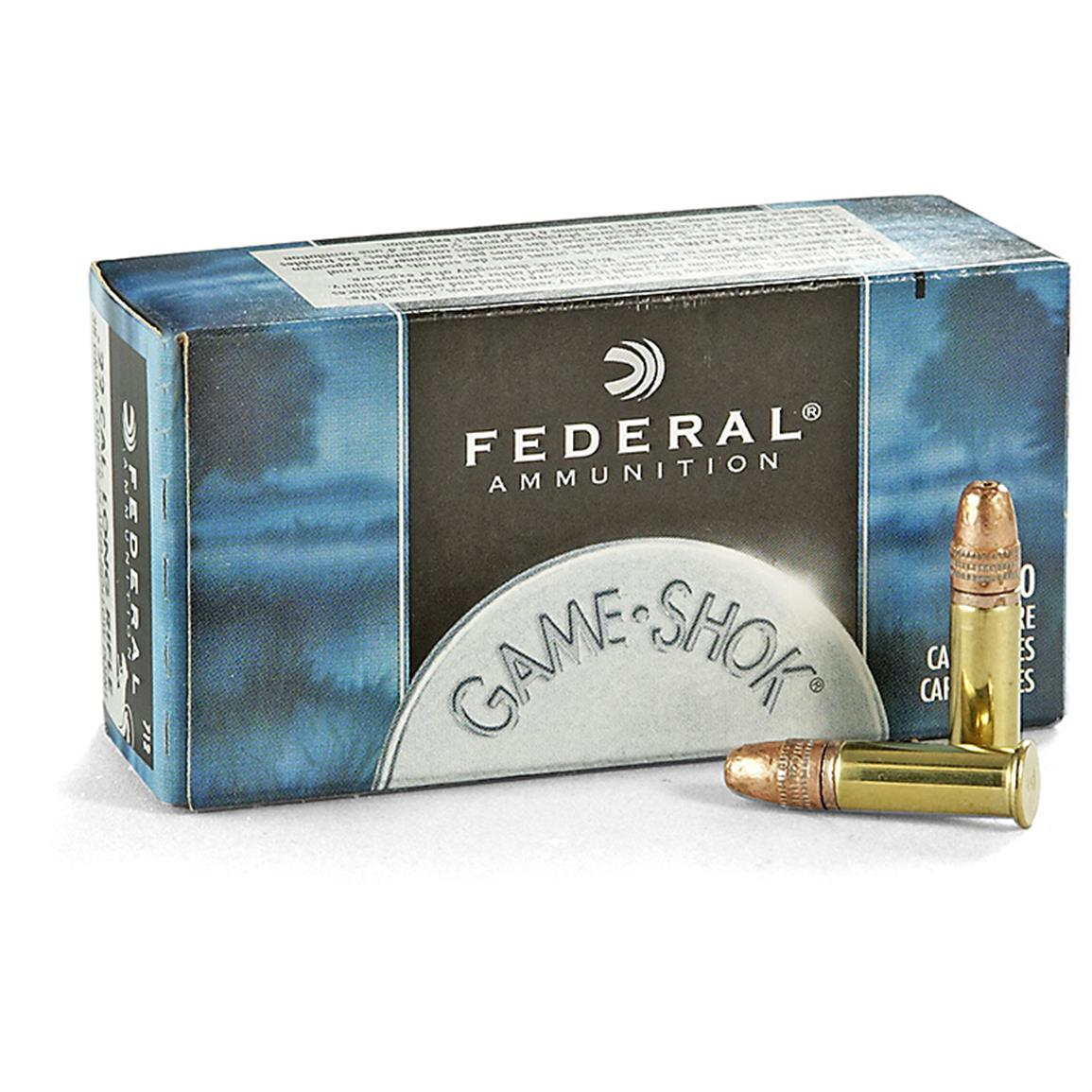 Federal Game-Shok High Velocity Ammo, .22LR, 38 Grain Copper-plated Hollow Point, 50 Rounds