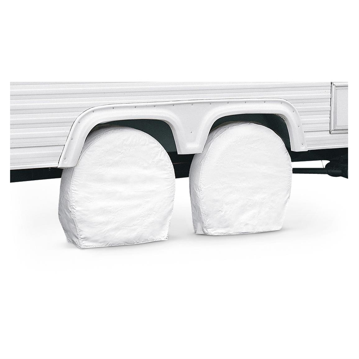 Classic Accessories RV Wheel Covers, 2 Pack, White