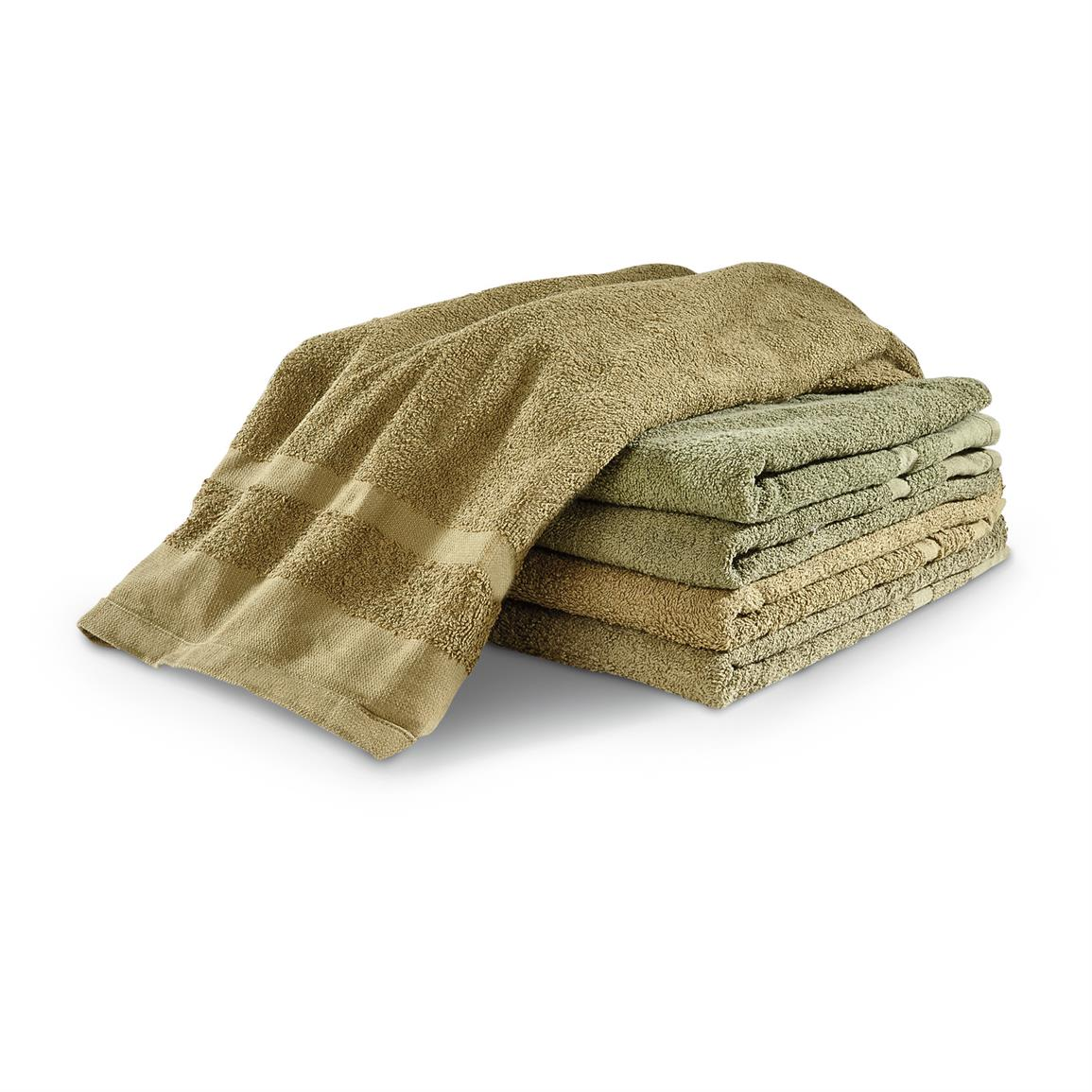 Dutch Military Issue Heavyweight Bath Towels, Olive Drab, 5 Pack, Used