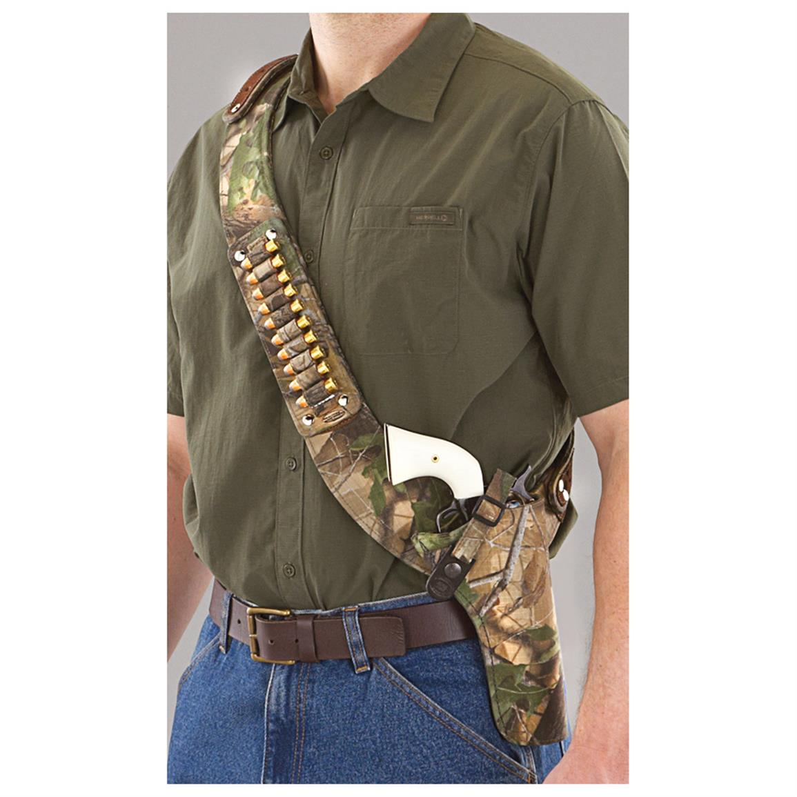 "Bandolero Shoulder Holster with Ammo Loops, Size 4"", Fits S&W K/L Frame • Camo"
