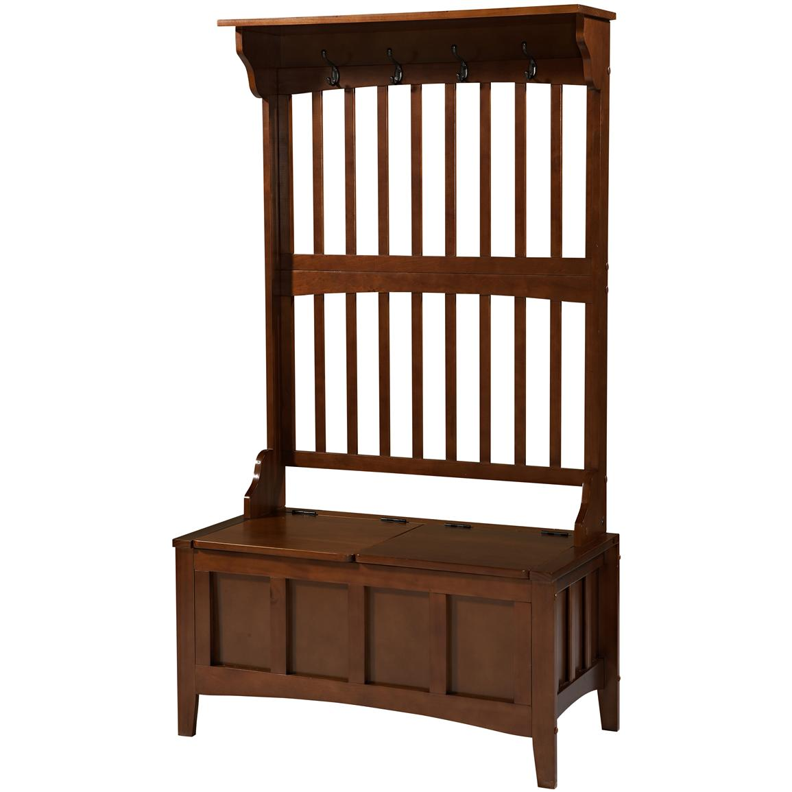 Linon Mission Hall Tree With Storage Bench 609778