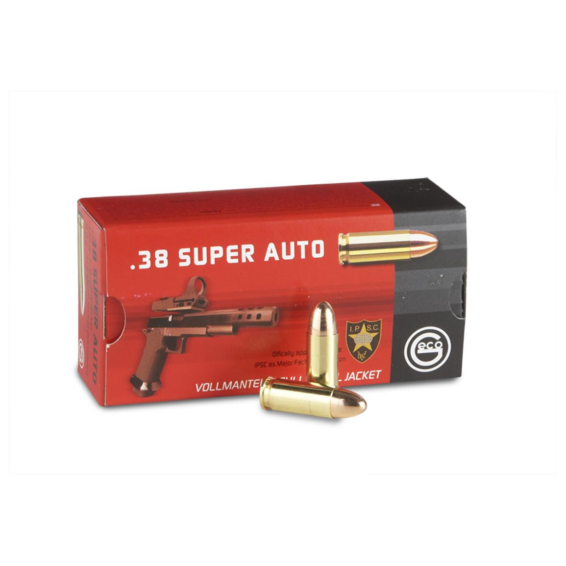 GECO, .38 Super Auto, FMJ, 124 Grain, 50 Rounds