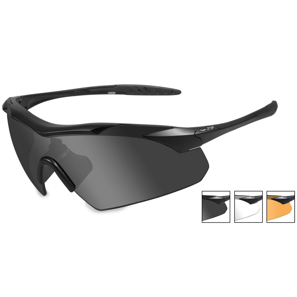 Wiley X WX Vapor Changeable 3-lens Sunglasses, Black Frame