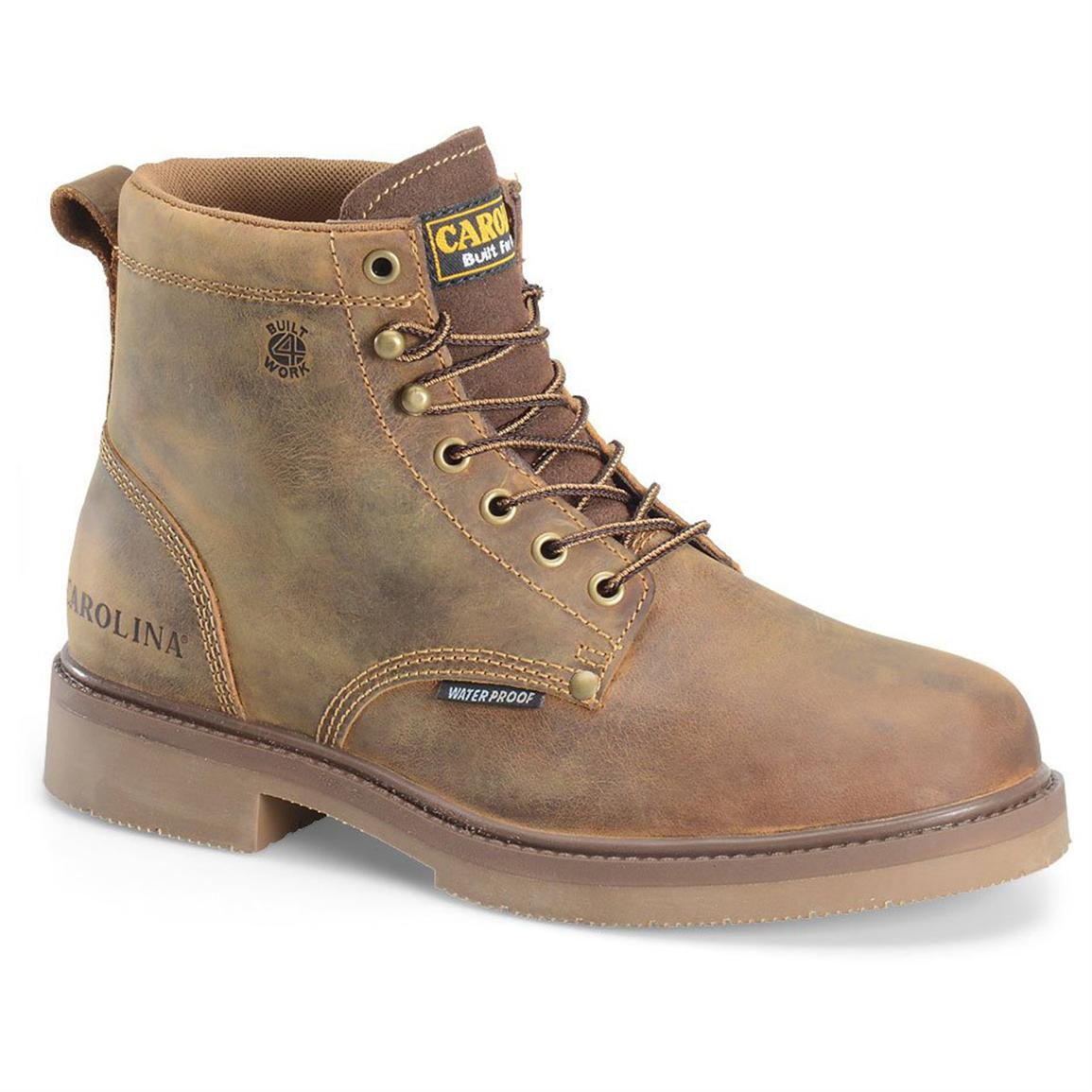 Men's Carolina 6 inch Steel Toe Smooth Sole Waterproof Work Boots, Old Town Folklore