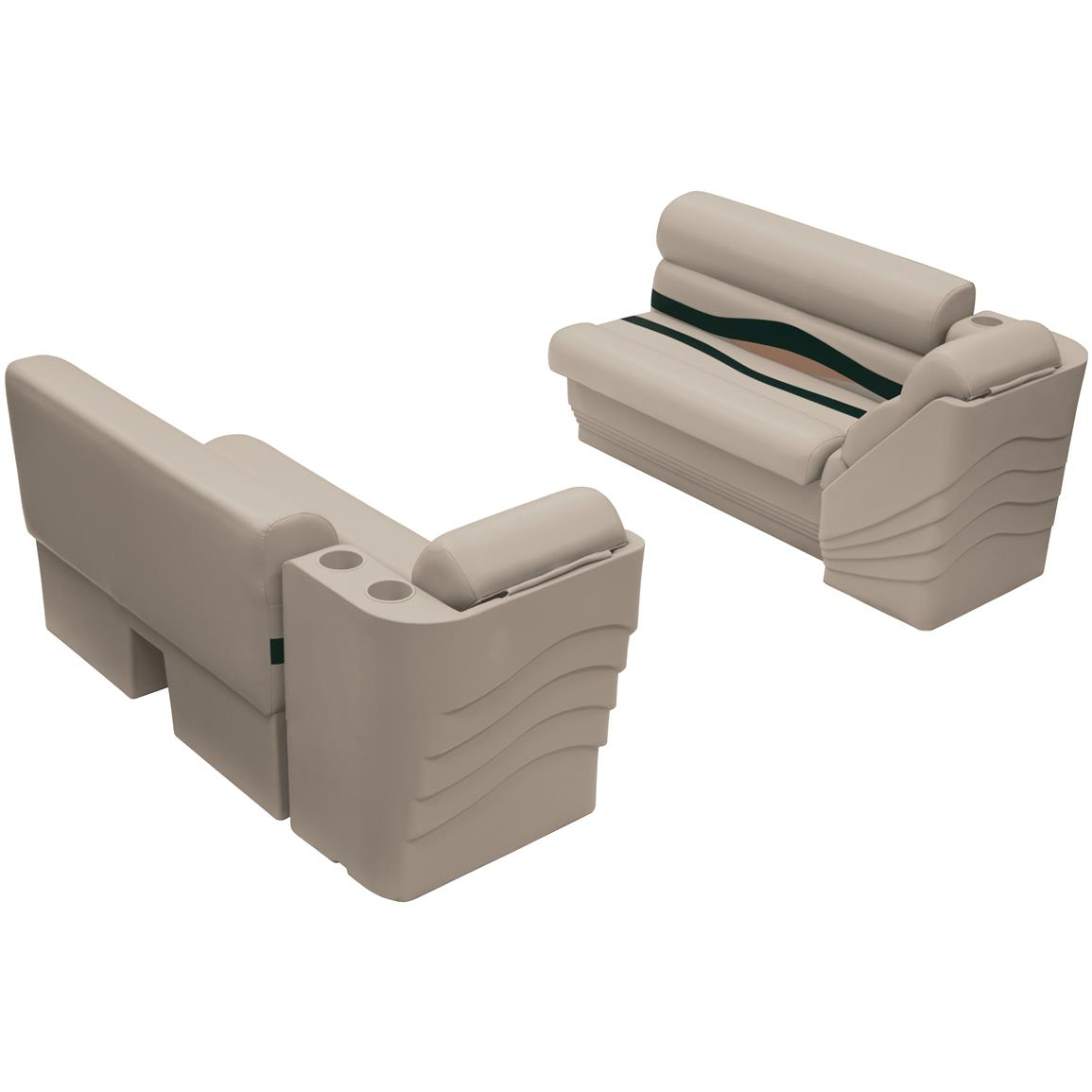Wise® Premier Pontoon 45 inch Bench and Lean Back Set, Color E: Platinum Punch / Jade / Fawn