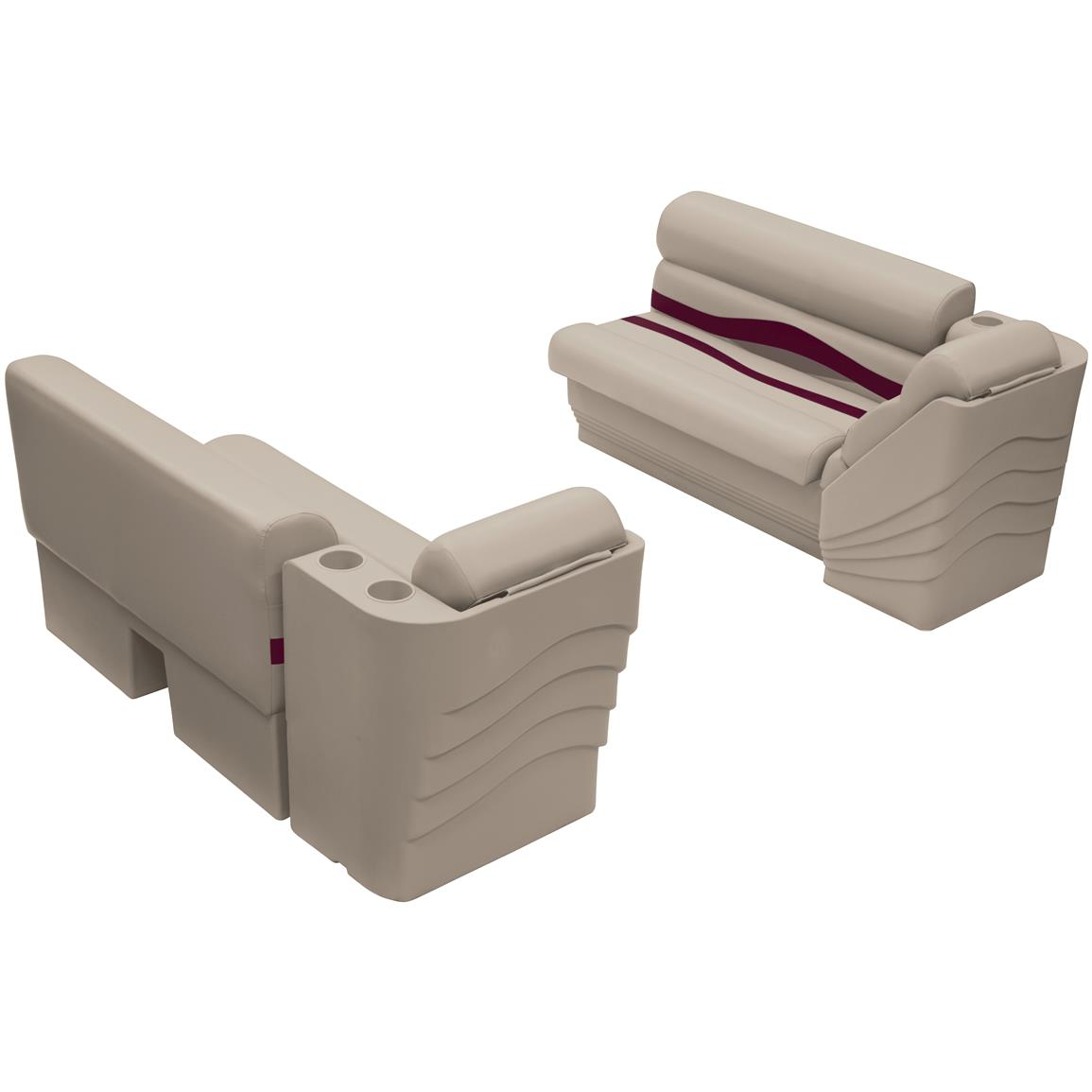 Wise® Premier Pontoon 45 inch Bench and Lean Back Set, Color F: Platinum Punch / Wineberry / Manatee