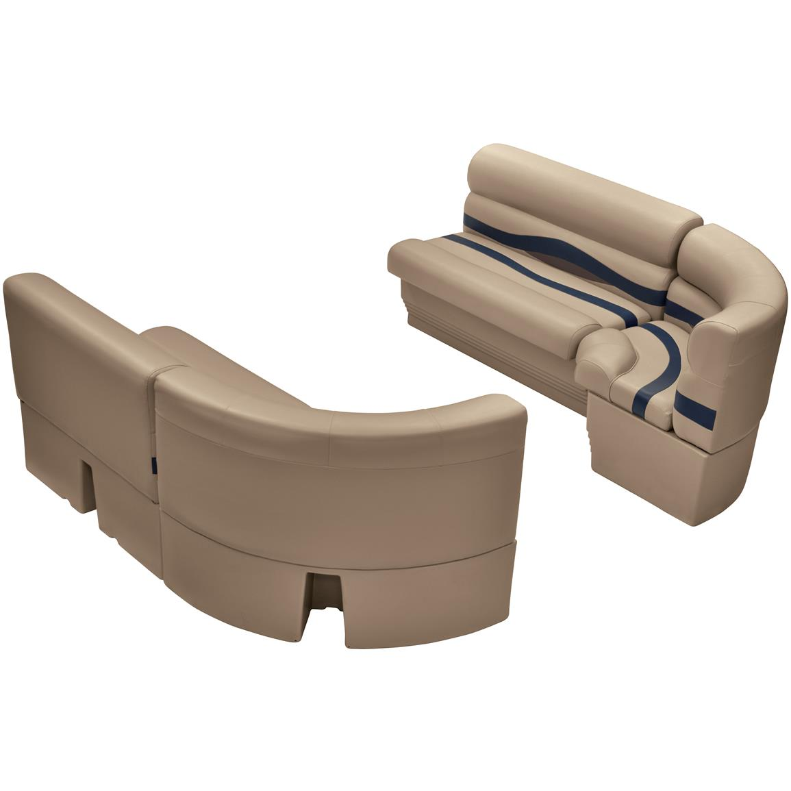 Wise® Premier Pontoon Medium Bow Radius Front Seating Group, Color A: Mocha Java Punch / Navy / Rock Salt