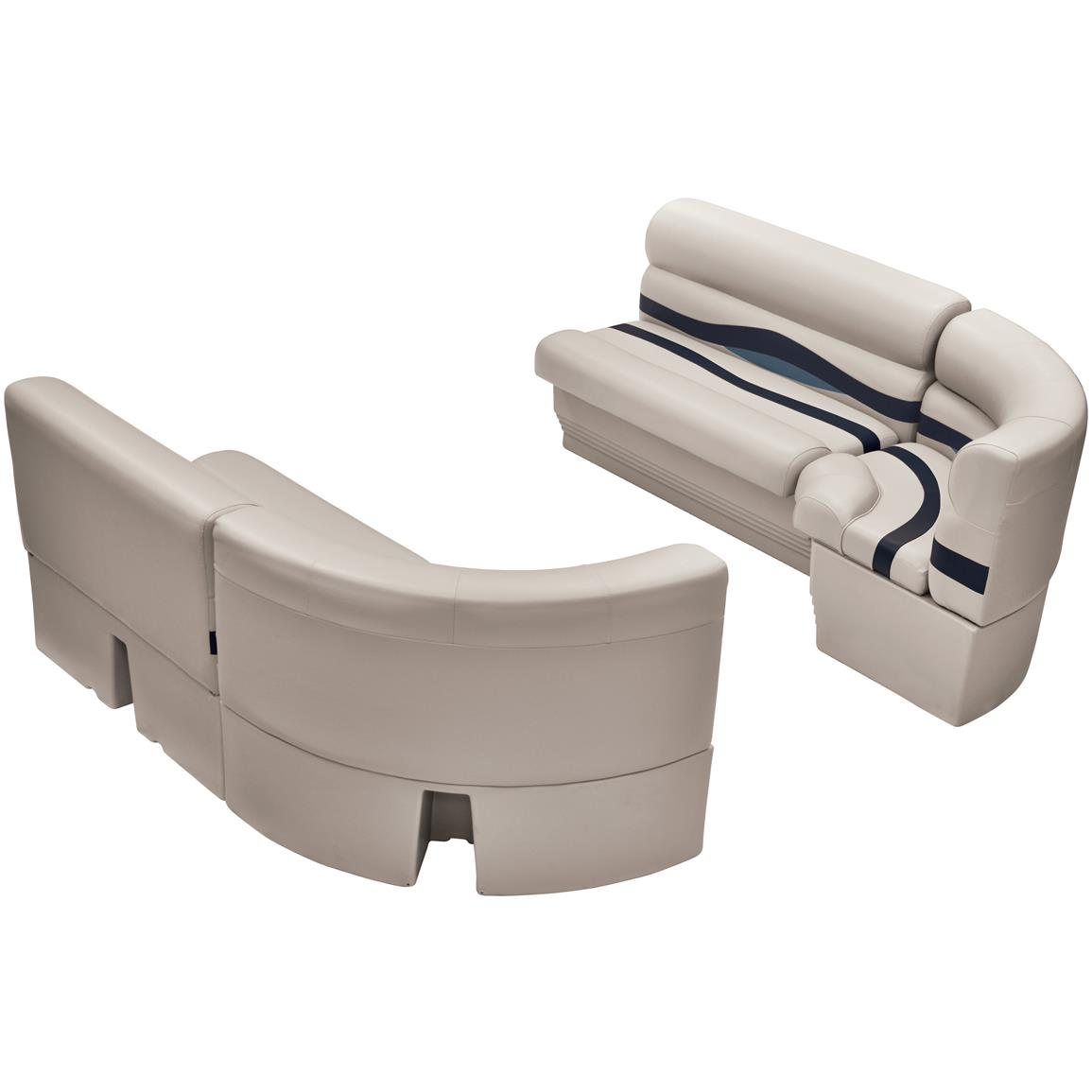 Wise® Premier Pontoon Medium Bow Radius Front Seating Group, Color D: Platinum Punch / Navy / Cobalt