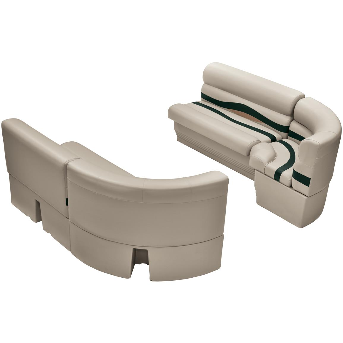 Wise® Premier Pontoon Medium Bow Radius Front Seating Group, Color E: Platinum Punch / Jade / Fawn