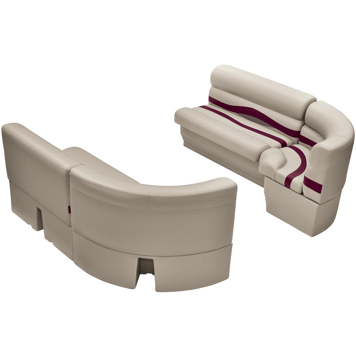 Wise® Premier Pontoon Medium Bow Radius Front Seating Group, Color F: Platinum Punch / Wineberry / Manatee
