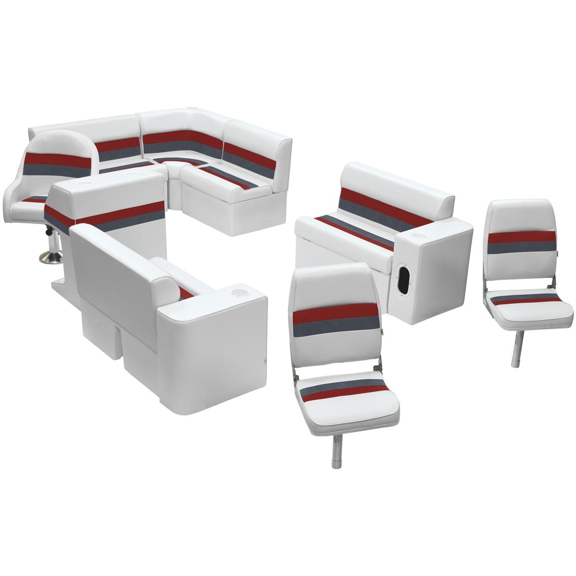 Wise® Deluxe Pontoon Complete Fishing Boat Seating Group, Color B: White / Charcoal / Red
