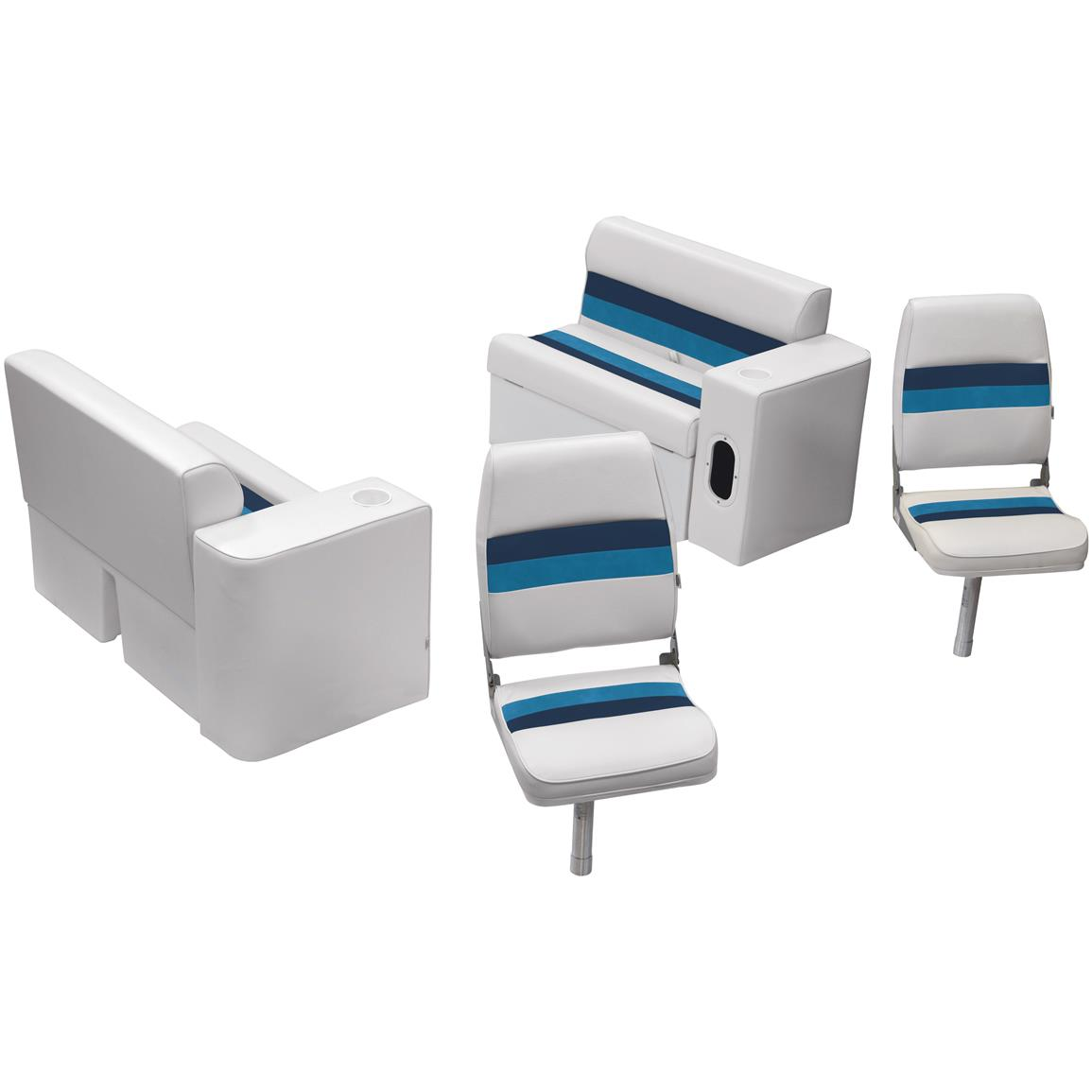 Wise® Deluxe Pontoon 36 inch Bench Fishing Seating Group, Color A: White / Navy / Blue