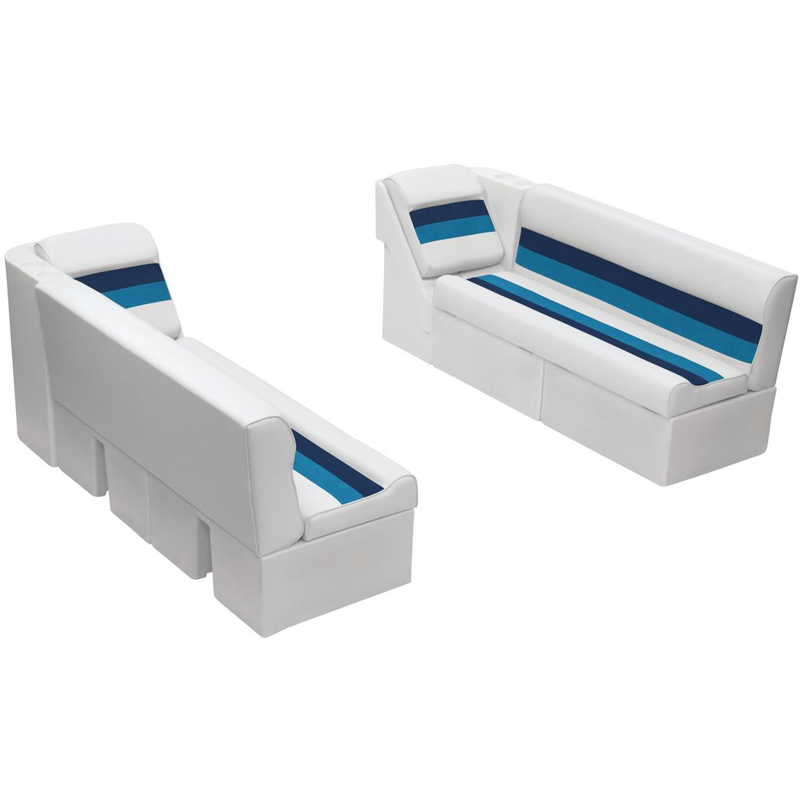 Wise® Deluxe Pontoon 55 inch Bench and Lean Back Seating Group, Color A: White / Navy / Blue