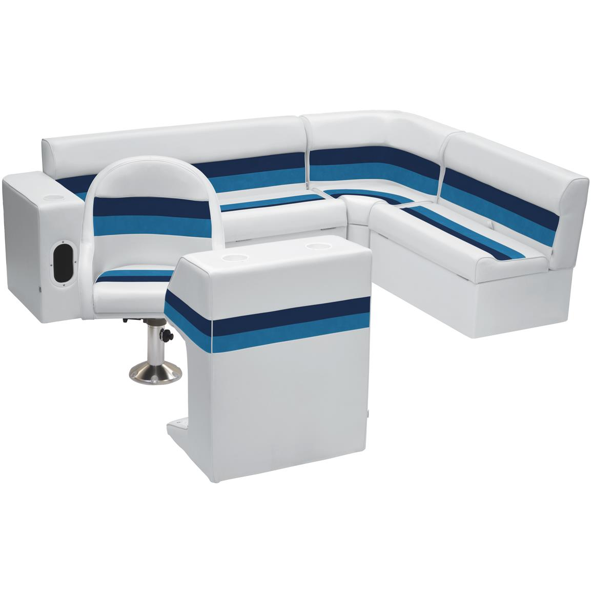 Wise® Deluxe Pontoon Complete Rear Seating Group, Color A: White / Navy / Blue