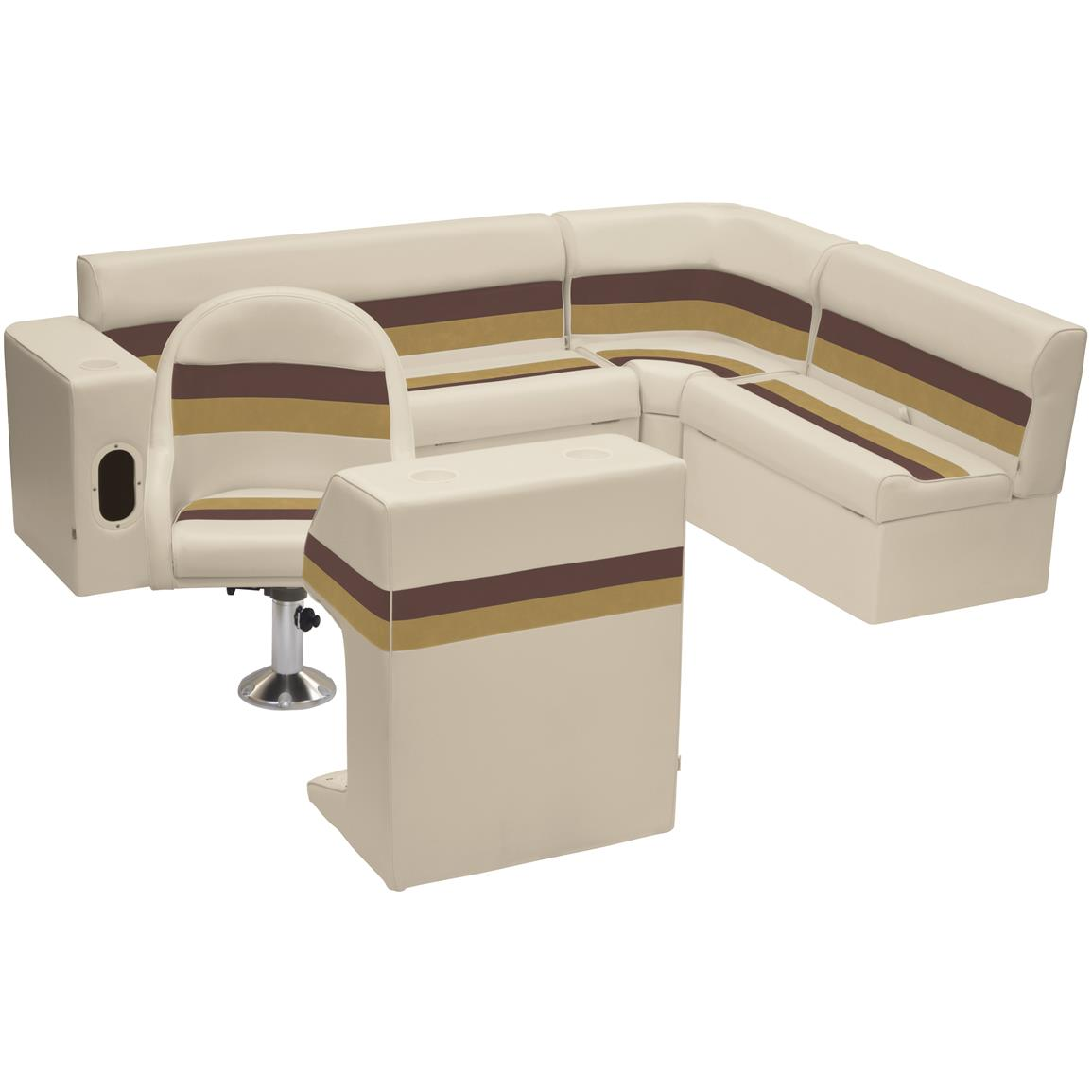 Wise® Deluxe Pontoon Complete Rear Seating Group, Color C: Sand / Chestnut / Gold