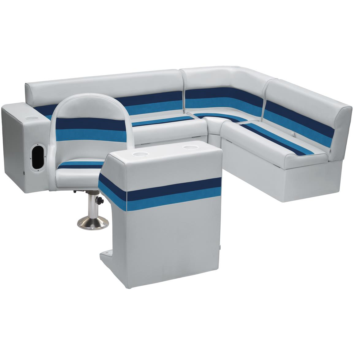 Wise® Deluxe Pontoon Complete Rear Seating Group, Color D: Light Grey / Navy / Blue