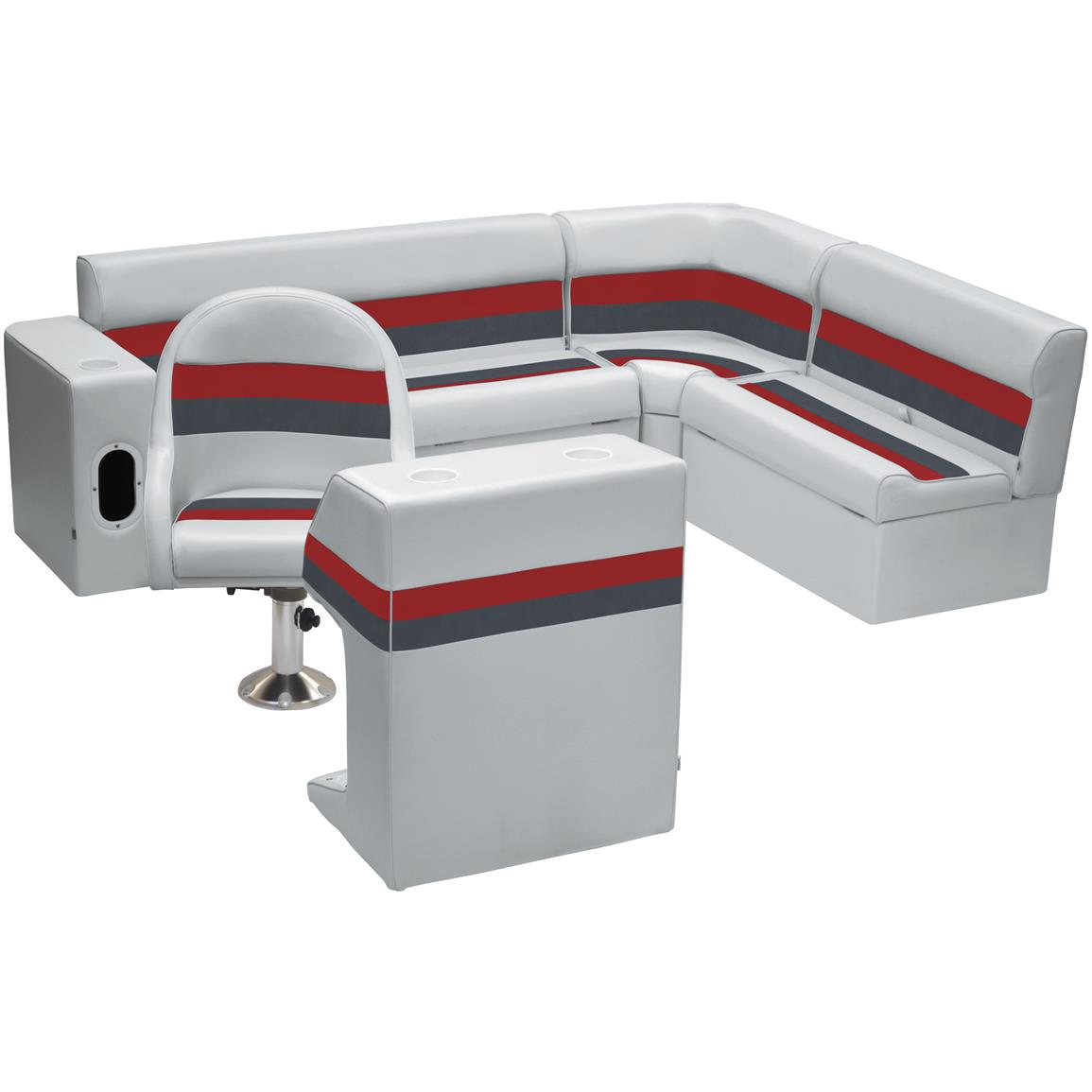 Wise® Deluxe Pontoon Complete Rear Seating Group, Color E: Light Grey / Charcoal / Red