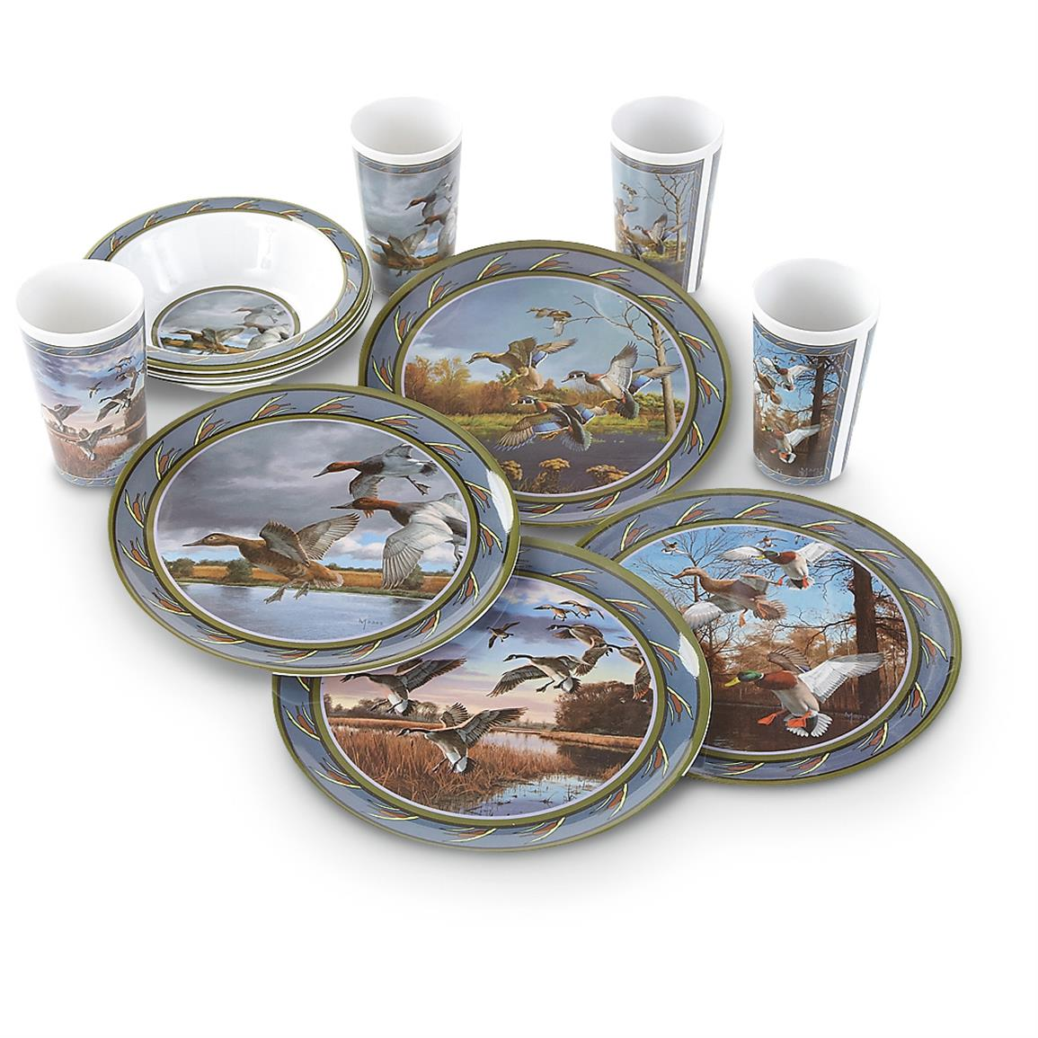 12-Pc. Wild Wings Melamine Dinnerware Set