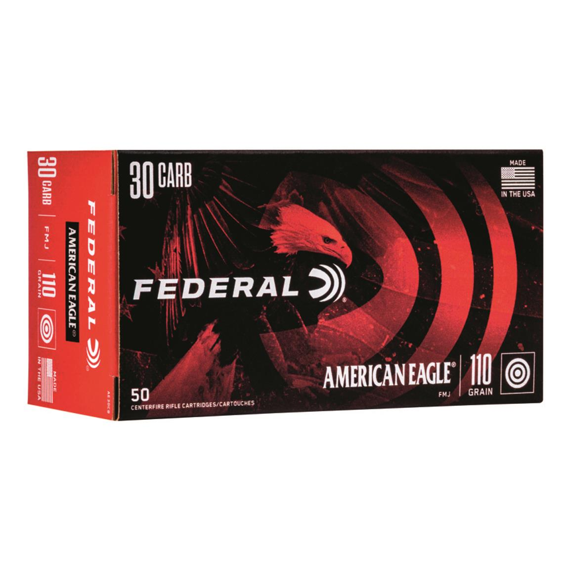 Federal American Eagle, .30 Carbine, FMJ, 110 Grain, 500 Rounds