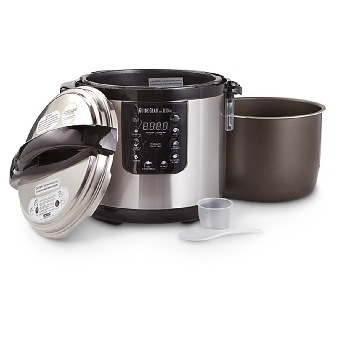 Includes removable nonstick pot, measuring cup and ladle