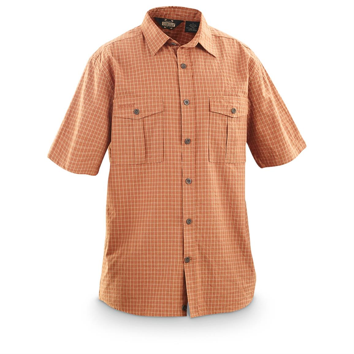 Guide Gear Men's Ripstop Plaid Short-Sleeve Shirt, Orange Plaid
