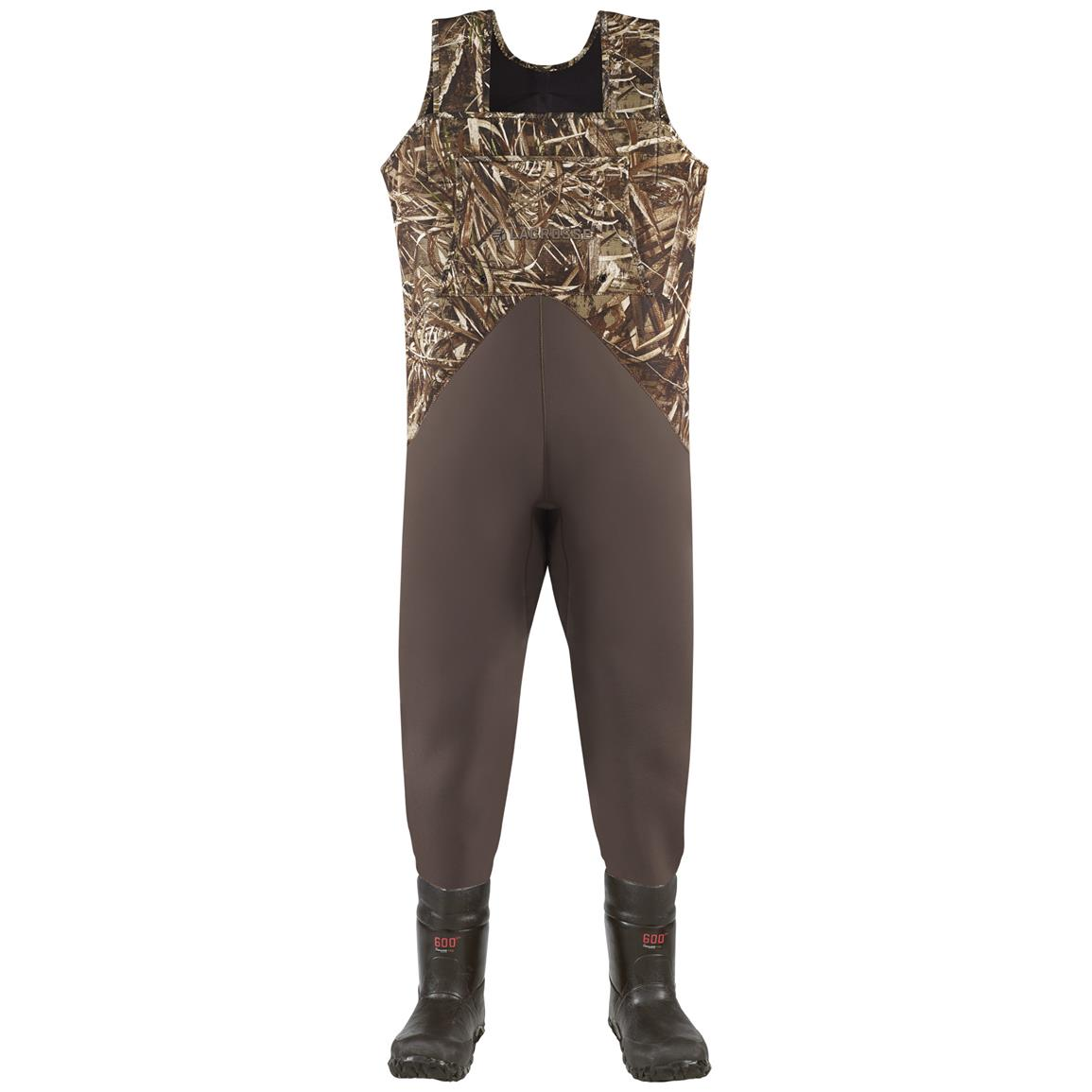 Men's Lacrosse 600 Gram Thinsulate Ultra Teal II Waders, Realtree MAX-5 Camo - Front view