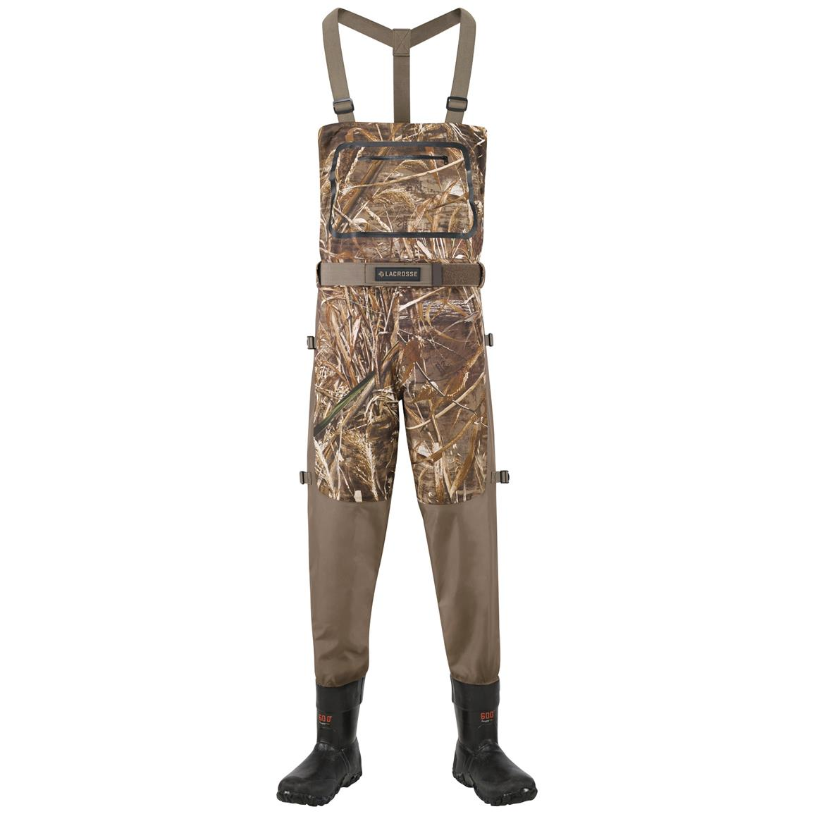 Men's Lacrosse 600 gram Thinsulate Ultra Alpha Swampfox Drop Top Waders, Realtree MAX-5 Camo - Front view