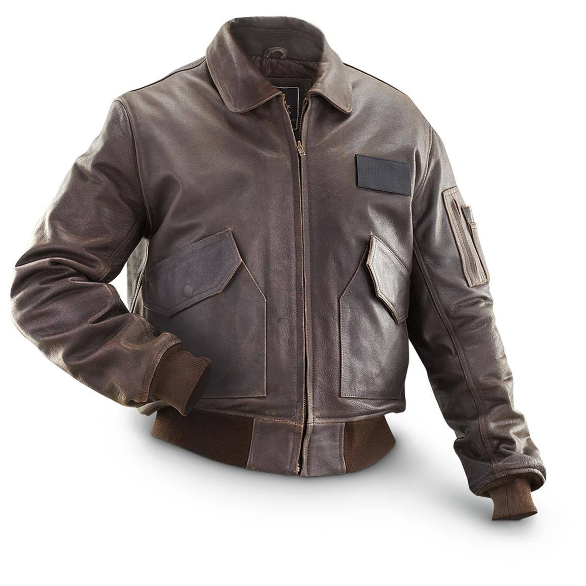 Alpha Industries Leather CWU 45 / P Flight Jacket, Distressed Brown