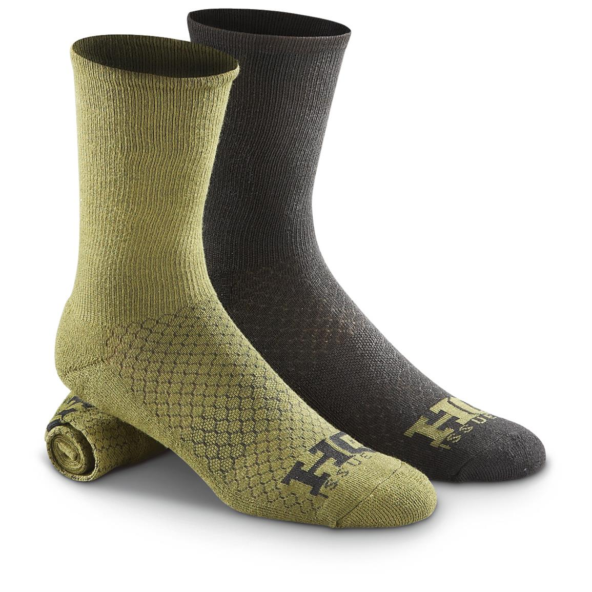 HQ ISSUE Tactical Socks, 10 Pairs, Olive / Black