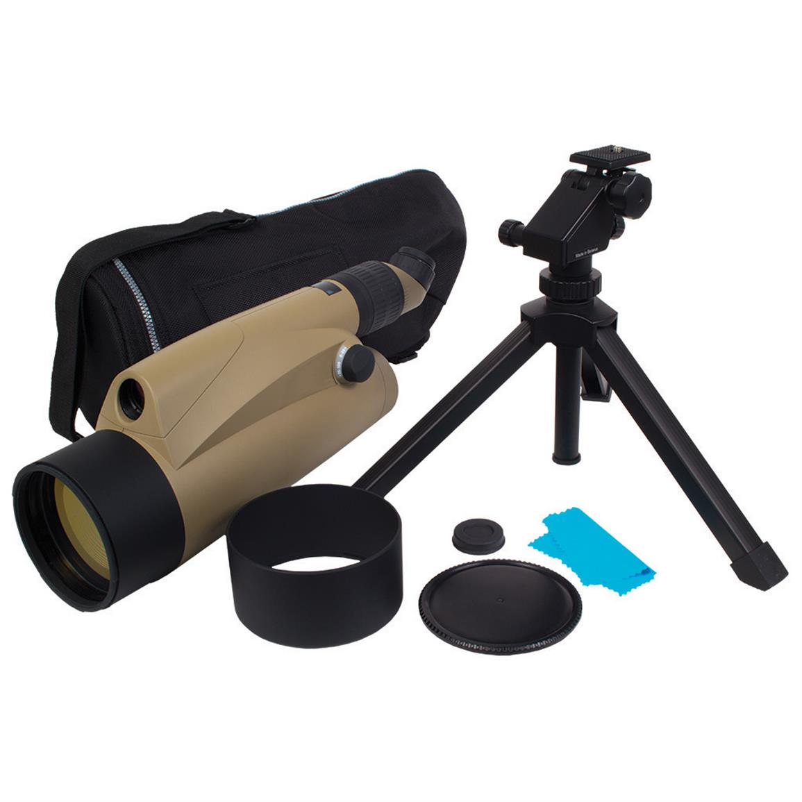 Includes tripod and carry case