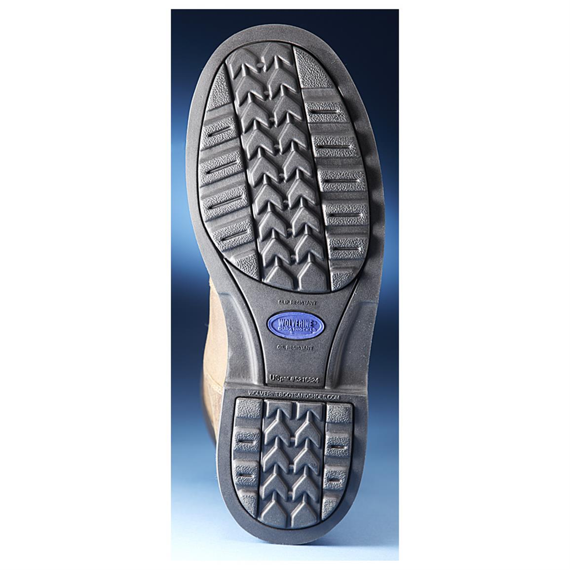 Slip and oil-resistant Wolverine DuraShocks rubber lug outsole