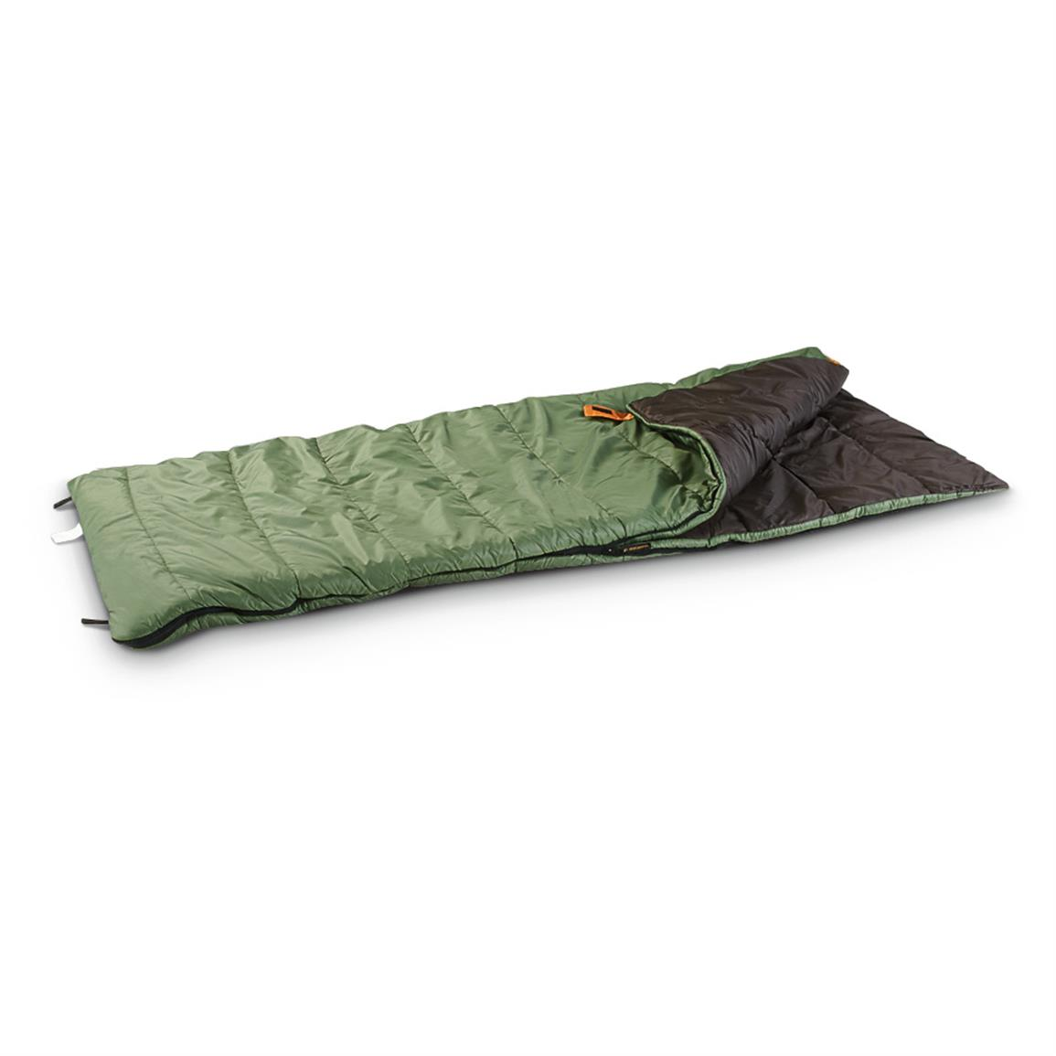 "Mountain Springs 40 Degree F Sleeping Bag • Comfort rated to 40°F • Measures 33"" x 80""l."