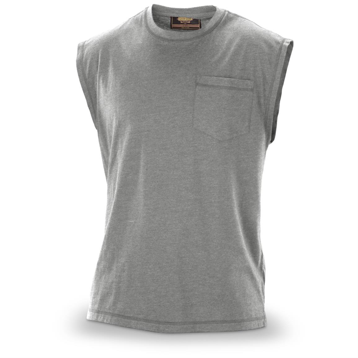 Guide Gear Men's Work Sleeveless Pocket T-Shirt, Gray
