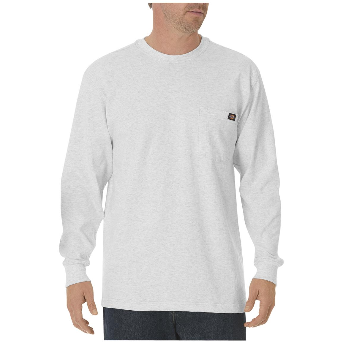 Dickies® Long-sleeved Heavyweight Crew Neck T-shirt, Ash Gray